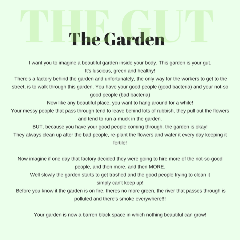 I want you to imagine a beautiful garden inside your body. This garden is your gut. It's luscious, green and healthy. There's a factory behind the garden and unfortunately, the only way